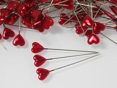 Červené špendlíky - špendlík srdíčko dekorační špendlíky