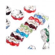 Korálky štrasové rondelky s krystalky 6mm bal. 15ks