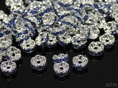 MODRÉ SVĚTLE korálky štrasové rondelky s krystalky 8mm bal. 5ks