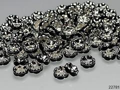 Černé korálky štrasové rondelky s krystalky 8mm bal. 5ks