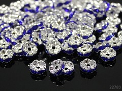 MODRÉ / čiré korálky štrasové rondelky s krystalky 8mm bal. 5ks