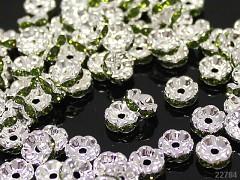 ZELENÉ korálky štrasové rondelky s krystalky 8mm bal. 5ks
