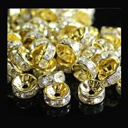ZLATÉ / čiré korálky štrasové rondelky s krystalky 10mm bal. 5ks
