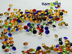 Pestrobarevné kamínky šatón korálky do lůžka 3mm bal. 20ks
