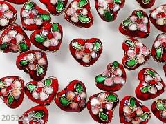 ČERVENÉ korálky Cloisonne kovové srdce