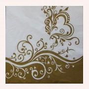 BÍLÉ svatební ubrousky / zlatý motiv 33x33cm, 1ks