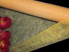 BROSKVOVÝ vlizelín 50cm k dekoraci široká šerpa stuha k aranžmá, á 1m