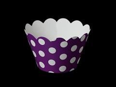 Košíčky na muffiny cupcakes TMAVĚ FIALOVÉ s puntíky