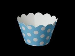 Košíčky na muffiny cupcakes SVĚTLE MODRÉ s puntíky