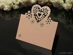 MERUŇKOVÉ luxusní PERLEŤOVÉ jmenovky ke stolu svatební srdce