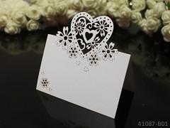 BÍLÁ luxusní PERLEŤOVÉ jmenovky ke stolu svatební srdce