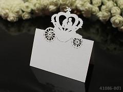 BÍLÁ luxusní PERLEŤOVÉ jmenovky ke stolu  svatební kočár