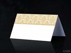 Svatební jmenovka ke stolu BÍLÁ se ZLATÝM ornamentem