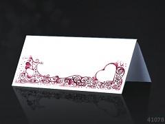 Svatební jmenovka ke stolu BÍLÉ s bordó ornamentem
