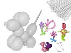 BÍLÉ Italské modelovací balónky extra dlouhé  1ks