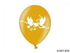 ZLATÝ Svatební nafukovací balónek  s holubicemi extra pevný