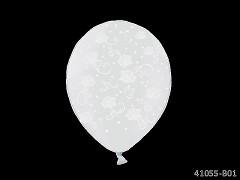 BÍLÝ Svatební nafukovací balónek  s RŮŽEMI extra pevný