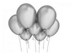 STŘÍBRNÝ Nafukovací balónek  27cm PERLEŤOVÝ extra pevný