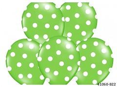 ZELENÝ s bílými PUNTÍKY Nafukovací balónek  extra pevný