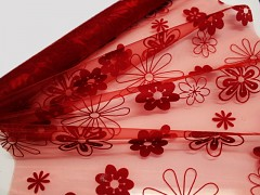 Červená dekorační organza červená / květiny, á 1m LIMITOVANÁ EDICE!