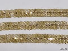 Ozdobný přírodní prýmek JUTA 20mm s flitry,  á 1m
