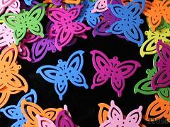 Pestrobarevný MIX korálky dřevěné motýlci 50/35mm bal. 3ks