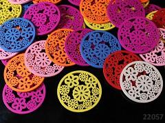 Pestrobarevný MIX korálky dřevěné kruhy s kytičkama 49mm bal. 5ks