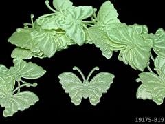 ZELENÝ SVĚTLE motýlek ozdoba saténová, bal. 5ks