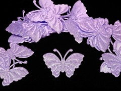 FIALOVÝ SVĚTLE motýlek ozdoba saténová, bal. 5ks