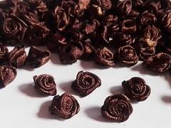HNĚDÉ saténové růžičky k zdobení,  bal. 10ks