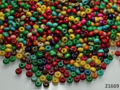 Pestrobarevný MIX korálky dřevěné 4/3 bal. 10g