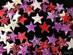 Pestrobarevné korálky akrylové velké melírované hvězdy, bal. 5ks