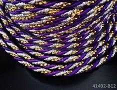 FIALOVÁ luxusní kroucená šňůrka zlatá/stříbrná