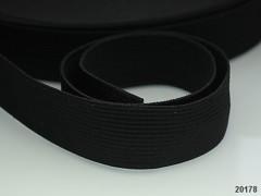 ČERNÁ plochá guma pruženka široká 20mm, á 1m