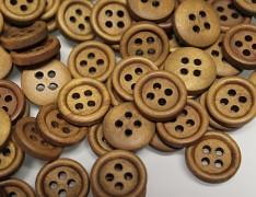 HNĚDÉ SVĚTLE kulaté dřevěné knoflíky, 1ks