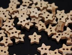 Dřevěné knoflíky HVĚZDIČKA hvězdy, 1ks