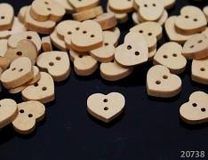 Dřevěné knoflíky SRDCE srdíčko, 1ks