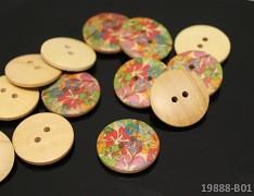 Dřevěné knoflíky KVĚTY 23mm,  á 1ks