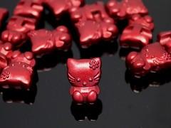 Červené HELLO KITTY knoflíky velké metalické,  á 1ks