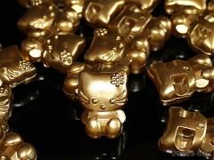 Zlaté HELLO KITTY knoflíky velké metalické,  á 1ks