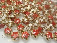 Červené / zlaté rolničky  vánoční ozdoba dekorace, balení 5ks