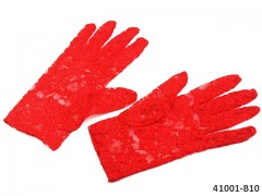 ČERVENÉ Dámské společenské rukavičky krajkové