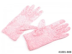 RŮŽOVÉ Dámské společenské rukavičky krajkové