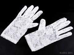 BÍLÉ Dámské společenské rukavičky krajkové