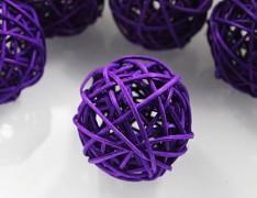 FIALOVÁ TMAVĚ ratanová koule 6cm k dekoraci přírodní materiál pedig