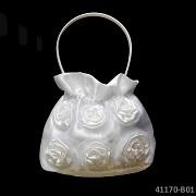 BÍLÁ kabelka pro družičku či pro nevěstu luxusní s květy růží