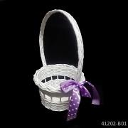 BÍLÝ košíček pro družičku na okvětní plátky růží kulatý košík