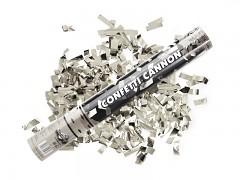 STŘÍBRNÉ vystřelovací konfety proužky tuba