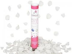 BÍLÉ vystřelovací konfety plátky růží tuba