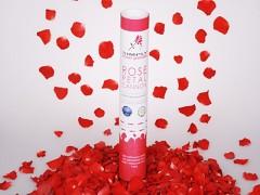 ČERVENÉ vystřelovací konfety plátky růží tuba